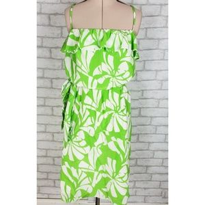 Lilly Pulitzer Palm Print Green White Dress 10